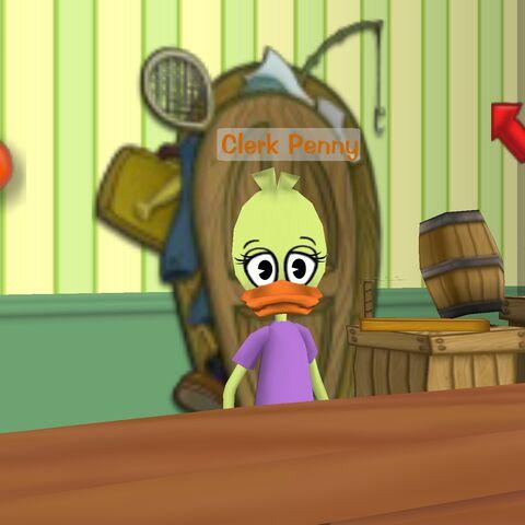 Clerk Penny in The Brrrgh's gag shop