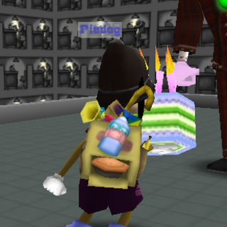 The Toon's backside while holding onto the Birthday Cake.