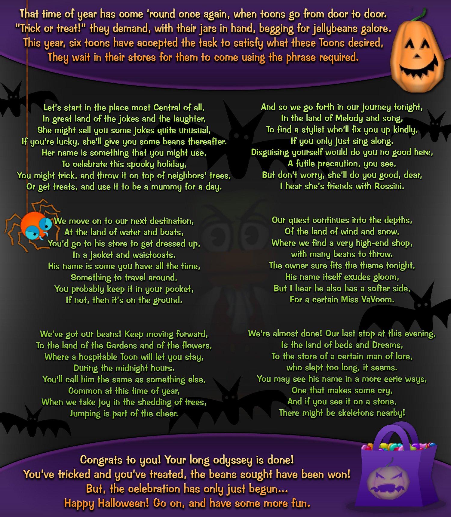 Trick Or Treating Toontown Rewritten Wiki Fandom