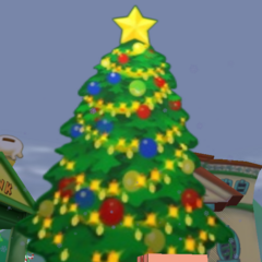 The Christmas tree that stands in the middle of the playground during Christmas