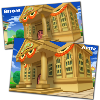 A before and after picture of the Library as part of <a href=