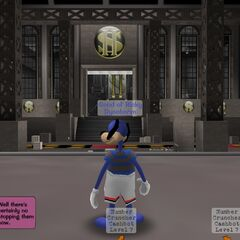 A Toon teleporting to Cashbot Headquarters using one of Doctor Surlee's <a href=