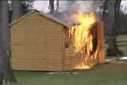 James' Shed on fire