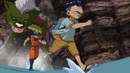 Toriko - Peck running from Bat Snake