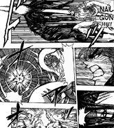 Toriko hitting Starjun with 50 Ren Nail Gun