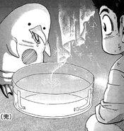 Komatsu finishing the soup
