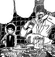 Toriko and Komatsu eating in the limousine