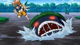 Beast in Black Lake attacking Toriko and Komatsu