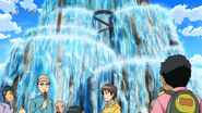Komatsu in front of Holy Water