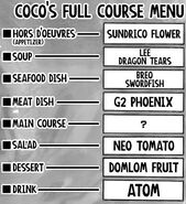 Coco's Full Course Menu