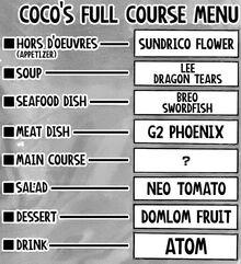 Coco's Full Course Menu