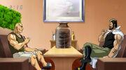 Mansam and Shigematsu having a drink