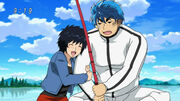 Rin with Toriko fishing
