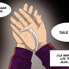 Yuri le da a Ship la marca del árbol alado para Baam