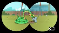 Snake eats fudgy lumps