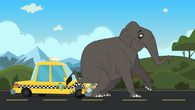 Elephant sits on taxi