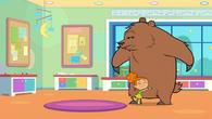 Izzy hugs bear