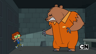 Harold in jail with a bear