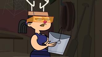 Eva holding a bucket