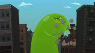 Slime monster eats buildings