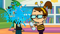 Beth splashes water onto duncan