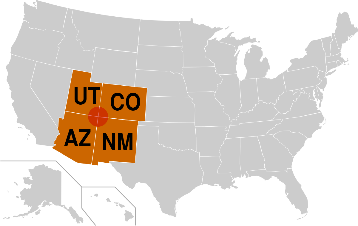 Image result for four corners of the united states map