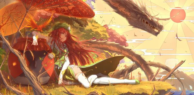 File:294377-anime girls-anime-Touhou-Hong Meiling-dragon.jpg