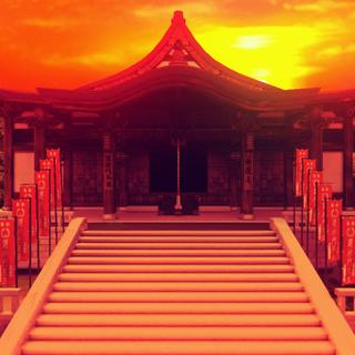 Templo Myouren en el atardecer en Urban Legend in Limbo