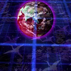 El Mundo de los Sueños con la Tierra visible en el Nivel Extra en Legacy of Lunatic Kingdom