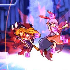 Marisa y Reisen con unos ítems con la letra H, para acortar el nombre de hyoui (posesión). Estos ítems se consiguen con golpear al oponente.