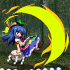 Tenshi lashes out with the Sword of Hisou while leisurely sitting on one of her keystones.