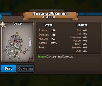 Skeletal Warrior Status Max
