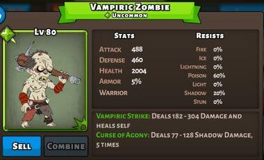 Vampiric Zombie Status Max