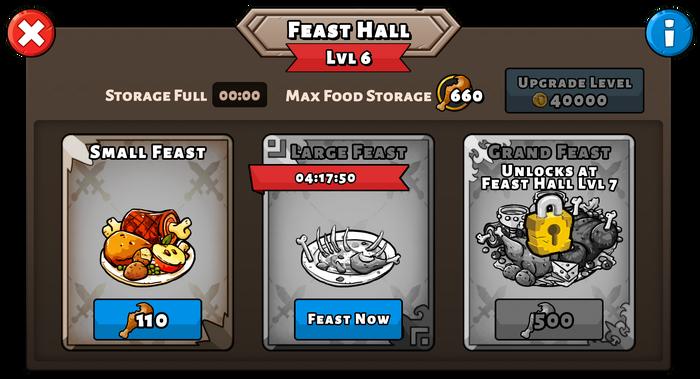 Feast hall menu