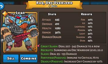 Raq, Orc Overlord Status