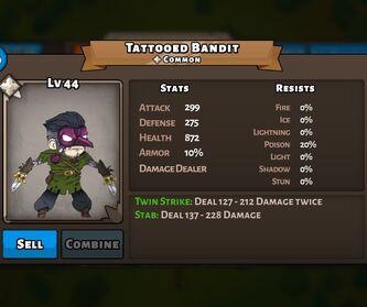 Tattooed Bandit Status Max