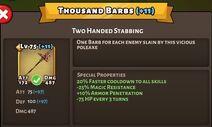 Thousand Barbs Status Max