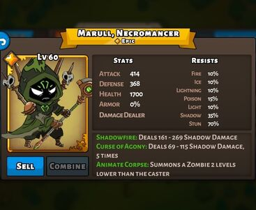 Marull, Necromancer Boss Status Max