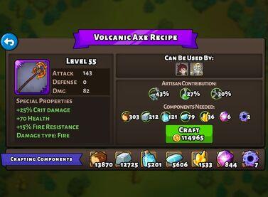 Volcanic Axe recipe