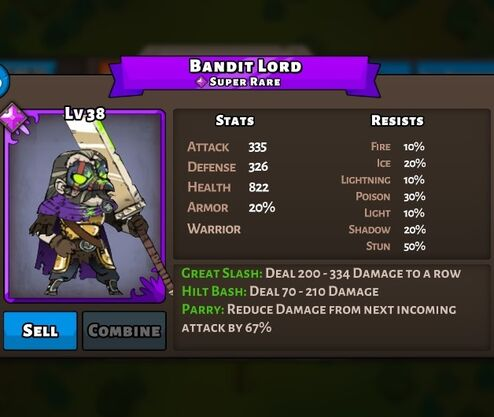 Bandit Lord Status Max