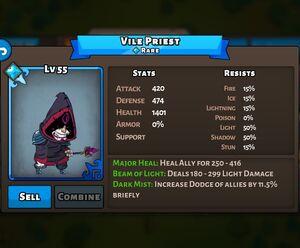 Vile Priest Status Max