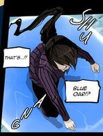 Baam using blue oar