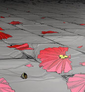 Data rose trampled flowers