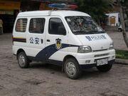 Police minivan in Yuhe Square