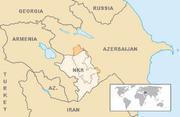 Map showing Nagorno-Karabakh in Azerbaijan