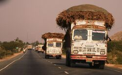 Trucks on the highway, Rajasthan