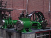 Cross-compound Robey steam engine, close-up of cylinders, Bolton museum