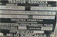 MF 165 (Argentina)(Hanomag) plate