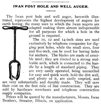 Post hole auger 1905