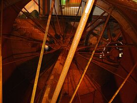 Inside the water-wheel of Quarry Bank Mill